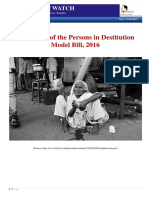 A Critique of the Persons in Destitution Model Bill, 2016