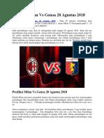 Prediksi Milan vs Genoa 20 Agustus 2018