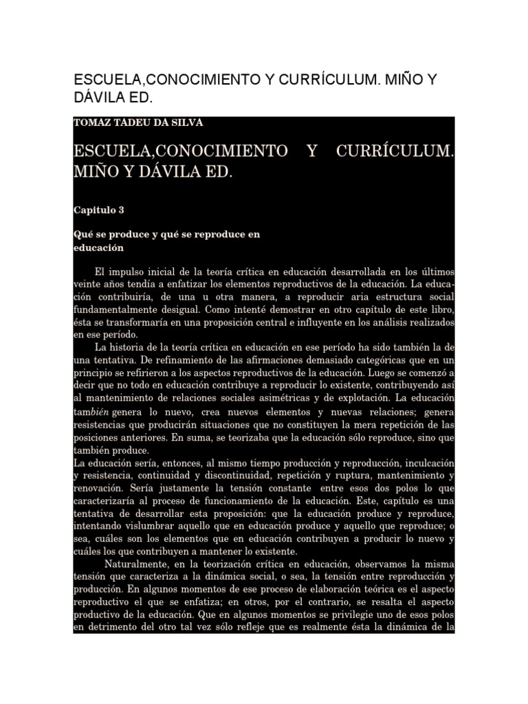 ESCUELA Conocimiento y Curriculum Miño y Davila