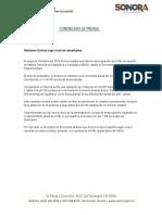 15-08-2018 Mantiene Sonora Bajo Nivel de Desempleo