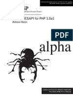 Esapi4php Core 1.0a Release Notes