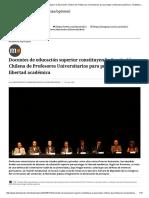 Docentes de Educación Superior Constituyen La Asociación Chilena de Profesores Universitarios Para Proteger La Libertad Académica - El Mostrador