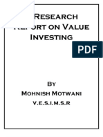 A Research Report on Value Investing
