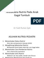 Tatalaksana Nutrisi Pada Anak Gagal Tumbuh
