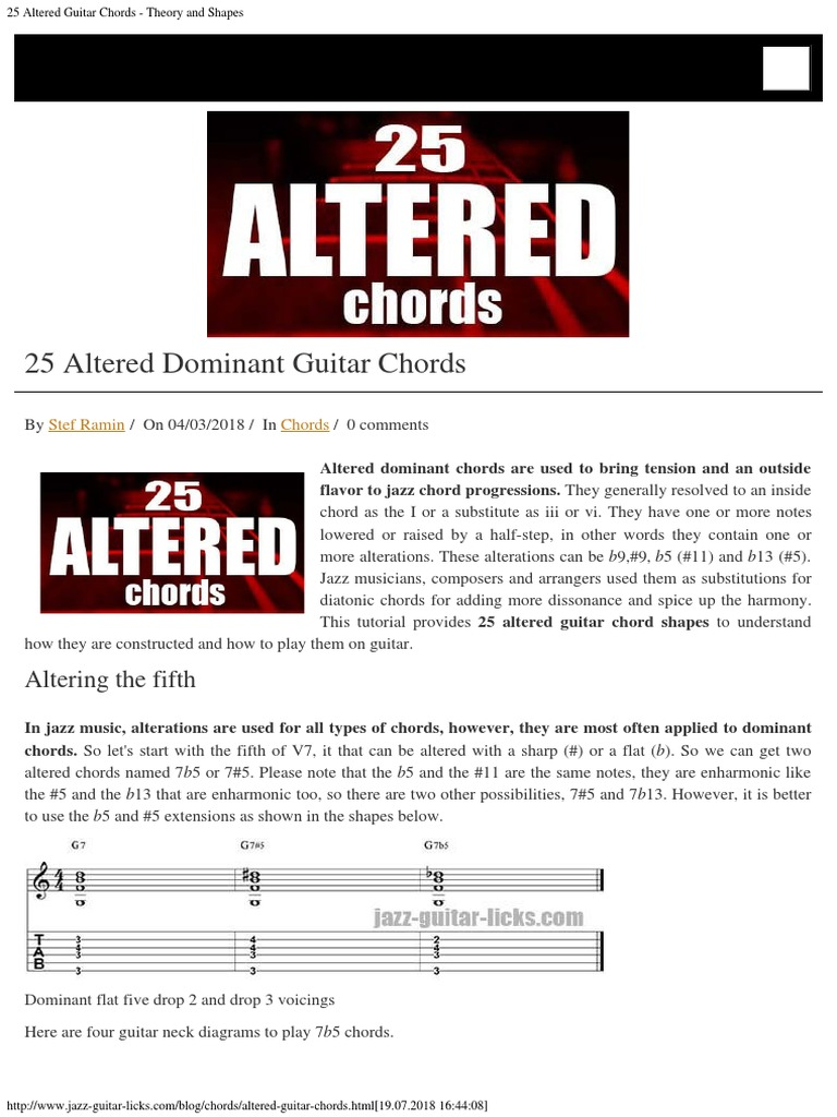 25 Altered Guitar Chords Theory And Shapes Chord Music Harmony