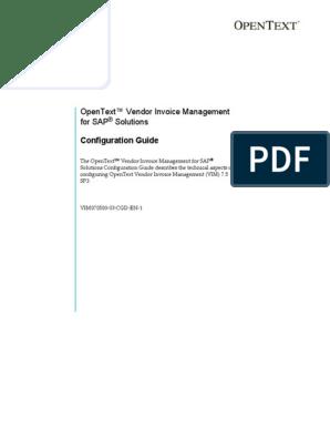 OpenText VIM 7 5 SP3 - Config Guide | Sap Se | Business Process