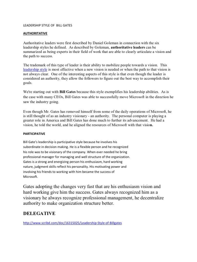 bill gates leadership style management