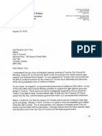 Premier Ford letter to Mayor Tory