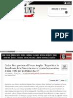 2017-08-06 Carlos Ruiz Previene Al Frente Amplio. Reproducir La Decadencia de La Concertación en Versión Boy Scouts Es Lo Más Triste Que Podríamos Hacer
