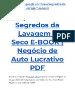 → E-Book Segredos da Lavagem a Seco Funciona?| Negócio de Auto Lucrativo PDF