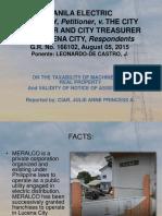 August 2015 - Meralco vs City Assessor of Lucena Gr. No. 166102 - Ciar, Julie Anne Princess a.