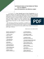 Indicaciones pastorales para el bautismo de niños de los obispos de la Región Buenos Aires