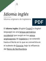 Idioma Inglés - Wikipedia, La Enciclopedia Libre