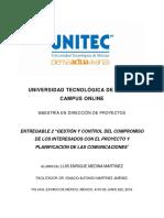 GESTIÓN Y CONTROL DEL COMPROMISO DE LOS INTERESADOS CON EL PROYECTO Y PLANIFICACIÓN DE LAS COMUNICACIONES