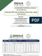 Boletín Agrometeorólogico Nº32018-Registro de Horas Frío Del Mes de Julio
