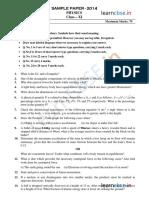 Cbse Class 11 Physics Sample Paper Sa2 2014 1