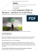 Four Mistakes Companies Make in Mergers—and How to Avoid Them