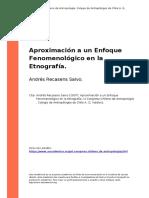 Andres Recasens Salvo (2007). Aproximacion a Un Enfoque Fenomenologico en La Etnografia