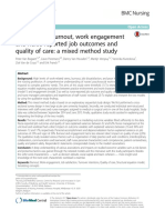 Predictors of Burnout Work Engagement and Nurse Reported Job Outcomes and Quality of Care