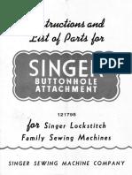 Singer Buttonhole Attachement Model 121795