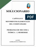 """Solucionario Cap. 4 """"Momentos ELementales del Cuerpo Sólido"""" - Problemas de Mecánica Teórica - I.Mesherski"""