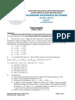Subiecte + bareme proba teoretica, Olimpiada Nationala de Chimie 2015, clasa a XII-a