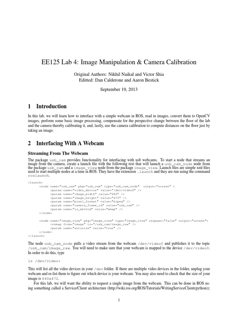 lab4_camera_calib pdf   Matrix (Mathematics)   Pixel