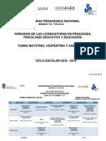 Horarios de clase de licenciatura del semestre agosto 2018 - enero 2019