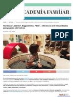 Diferencias Entre Los Métodos Pedagógicos Alternativos.montessori, Waldorf, Reggio Emilia, Pikler. Ana & Nufry
