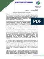 Comunicado Dominical 19 VIII 18