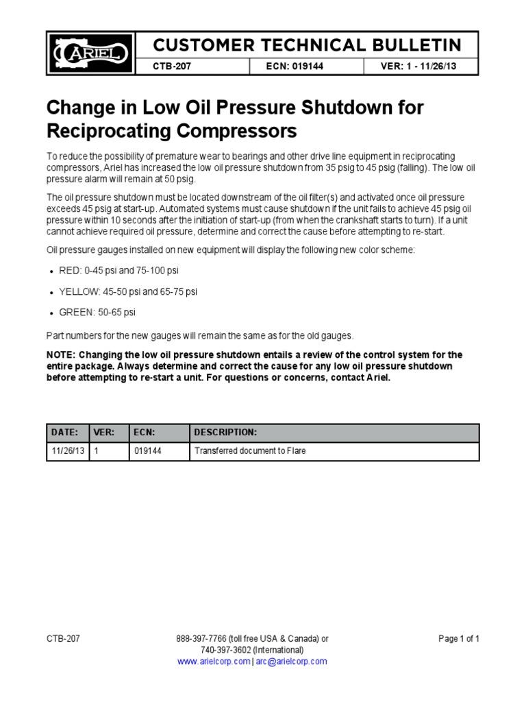 CTB-207 Low Oil Pressure Shutdown Change