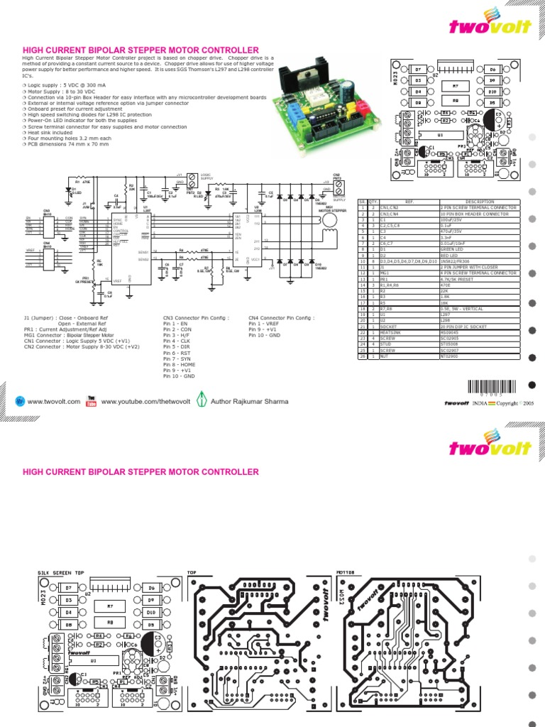 L298 and L297 Based High Current Stepper Motor Driver With