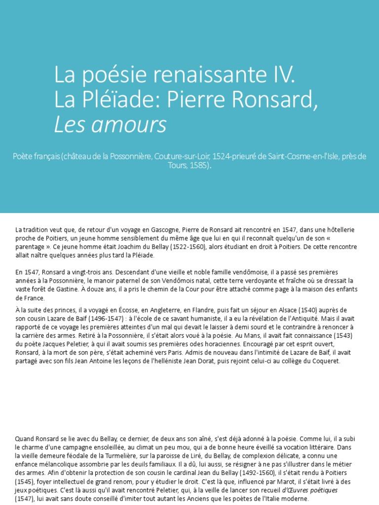 Pierre Ronsard Amours Sonnets Poésie