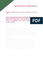 Octavo Mensaje Universal de La Virgen María 3a Parte