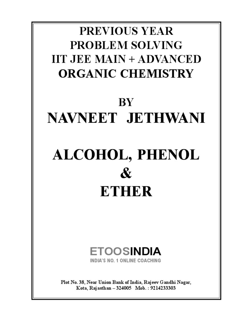 Copy of Alcohol, Phenol, Ether Jee Main _ Advanced (Final) | Ether