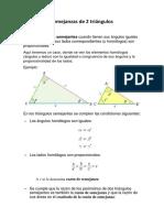 Semejanzas de 2 Triángulos