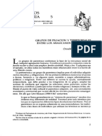 Grupos de Filiacion y Territoriales Entre Los Araucanos Prehispanos