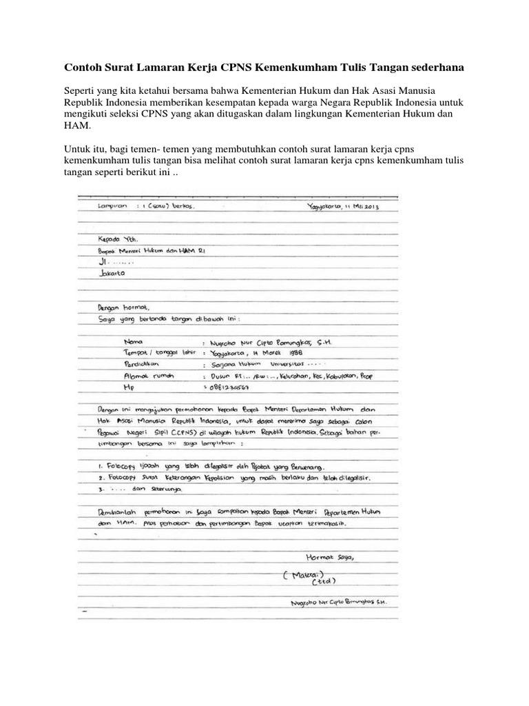 Contoh Surat Lamaran Kerja Tulis Tangan Yang Simple Kumpulan Contoh Gambar