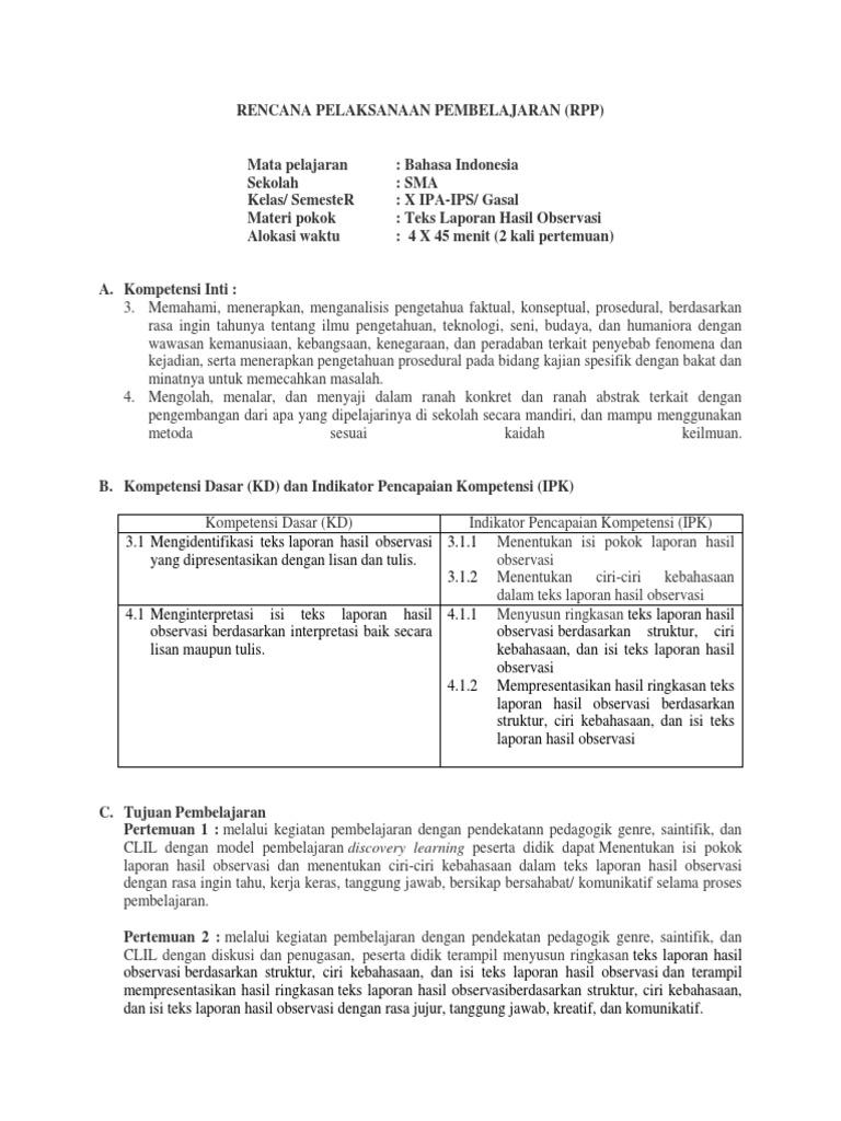 Contoh Rpp Teks Laporan Hasil Observasi Kelas X Kumpulan Contoh Laporan
