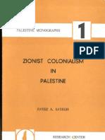 Zionist Colonialism in Palestine