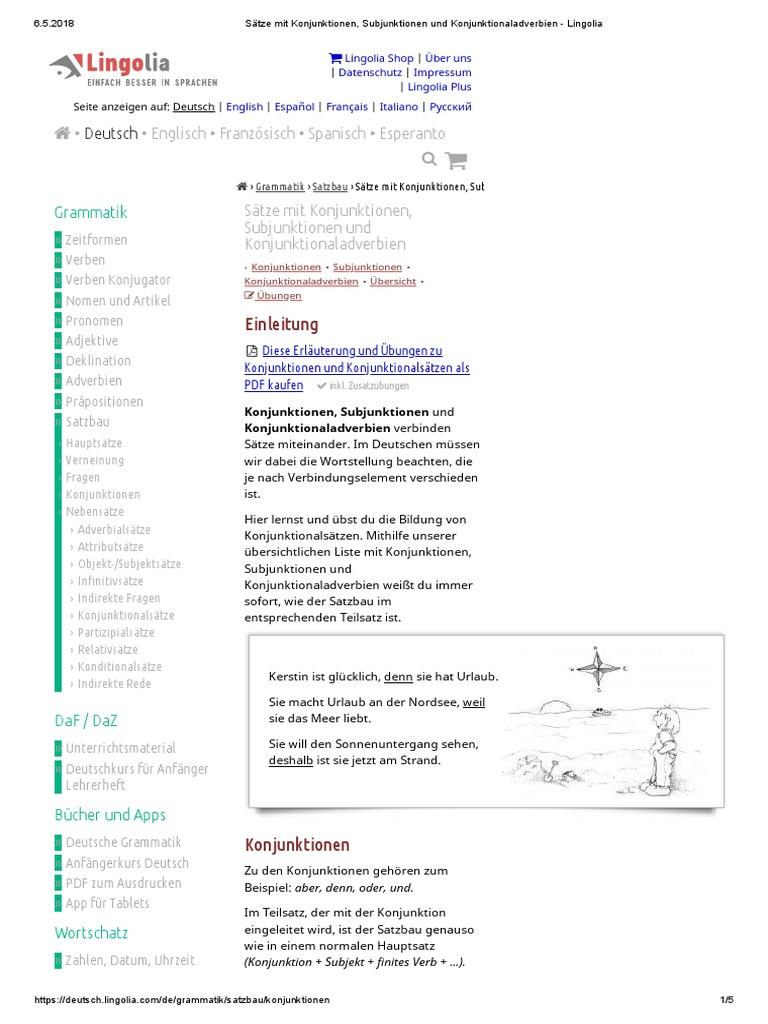 Konnektoren   Lingolia   PDF