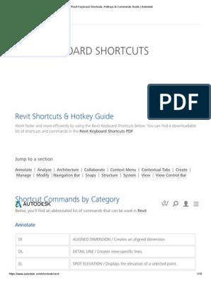 Revit Keyboard Shortcuts, Hotkeys & Commands Guide _