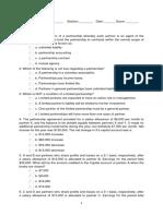 Sample Quiz Partnership and Corporation