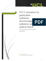 DNA mutation by particulate radiation, electromagnetic radiation and free radical attack