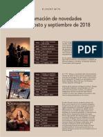 Novedades de Ponent Mon Para Agosto y Septiembre de 2018