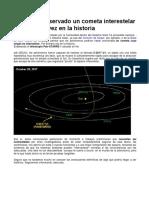 Se Habria Observado Un Cometa Interestelar Por Primera Vez en La Historia