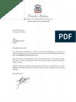 Carta de condolencias del presidente Danilo Medina a Luis Alejandro Janer por fallecimiento de su padre, Luis Alejandro Janer Munnich (Cuqui)