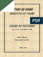 Curiosidade Histórica - Código de Posturas Do Ano de 1925 Do Município Da Palma (Hoje Coreaú -Ceará)
