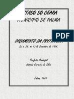 Curiosidade Histórica - Orçamento Do Ano de 1925 Do Pequeno Município Da Palma (Hoje Coreaú-CE)