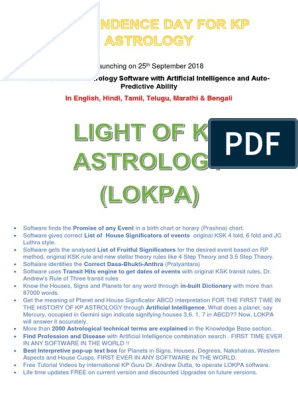 Best KP Astrology Software LOKPA | Astrology | Astronomy